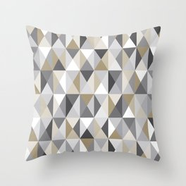 Stone Mid Century Modern Triangle Print Throw Pillow
