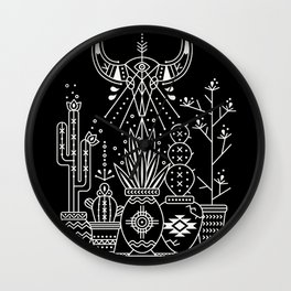 Santa Fe Garden – White Ink on Black Wall Clock