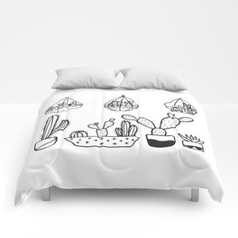 Cactus Garden Black and White Comforters