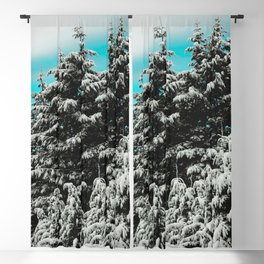 Winter Woods VI - Snow Capped Forest Adventure Nature Photography Blackout Curtain