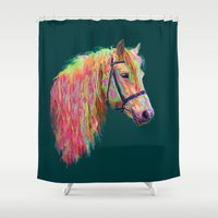 pony Shower Curtains featuring Rainbow Pony. by HelenMacNee