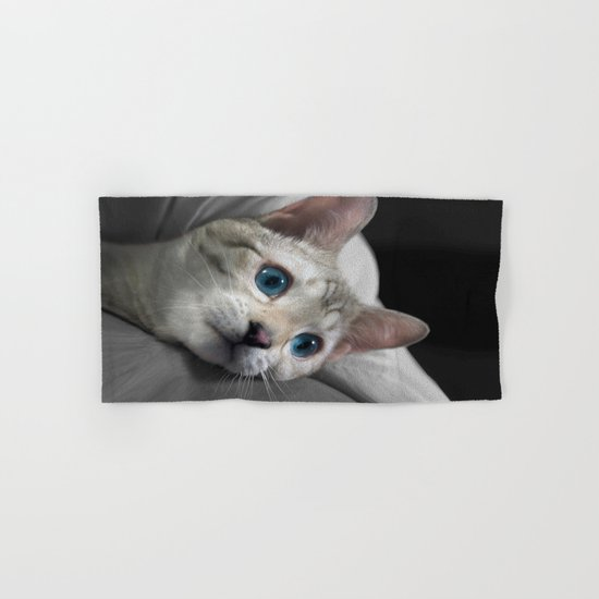 The Blue Ice in the Snow Bengal Cat's Eyes Hand & Bath Towel