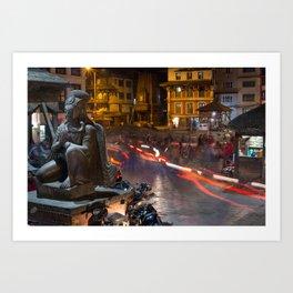Durbar Square at night. Kathmandu, Nepal. Art Print