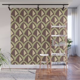Classic Hollywood Regency Pyramid Pattern 235 Green Brown and Beige Wall Mural