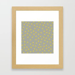 Simply Dots Mod Yellow on Retro Gray Framed Art Print