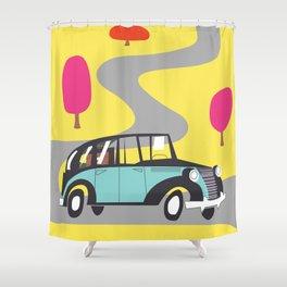 vintage car cartoon Shower Curtain