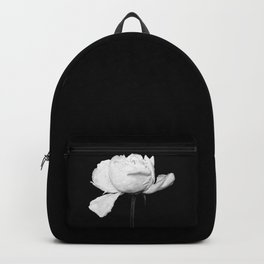White Peony Black Background Backpack