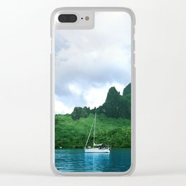 Sailboat in Cook's Bay: Moorea, South Pacific Clear iPhone Case