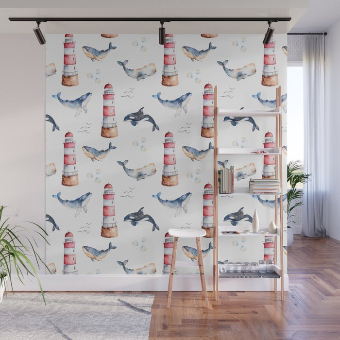 Sea Voyage Whales and Lighthouses Pattern Wall Mural