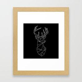 Geometric Stag (White on Black) Framed Art Print