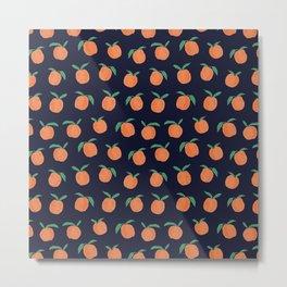 Midnight Peaches Fruit Pattern Metal Print