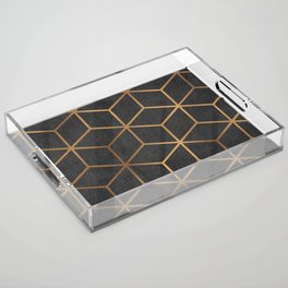 Charcoal and Gold - Geometric Textured Cube Design I Acrylic Tray
