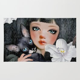 Sphynx Among Orchids Rug