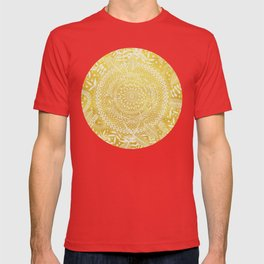 Medallion Pattern in Mustard and Cream T-shirt