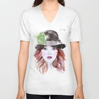 emma stone V-neck T-shirts featuring Emma Stone by Vicky Ink.