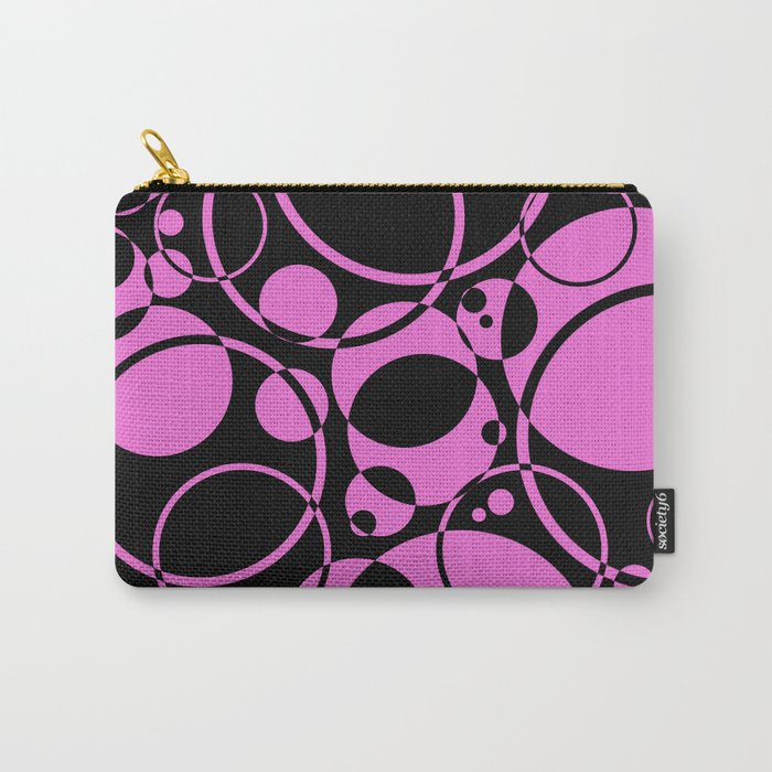 Black and pink bubbles pattern Carry-All Pouch