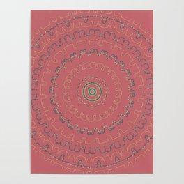 Mauve Rose Simple Mandala Poster