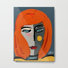 Mysterious Girl Portrait Stefania Style Art Metal Print