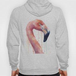 Watercolor Pink Flamingo Illustration | Facing Right Hoody