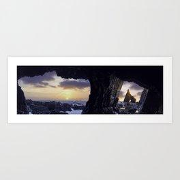 Panorama of the caves on beach of Campiecho rocky coast at sunset, Asturias, Spain. Art Print