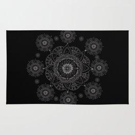 black and white mandala Rug