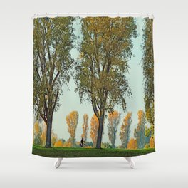 Golden october by the rhine Shower Curtain
