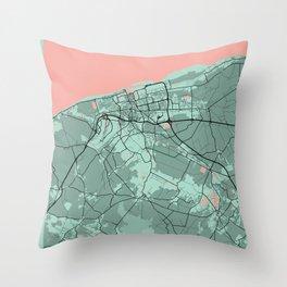 Calais - France Peony City Map Throw Pillow