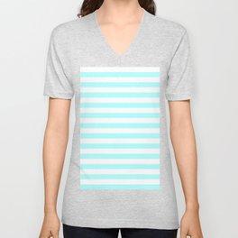 Narrow Horizontal Stripes - White and Celeste Cyan Unisex V-Neck