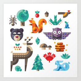 Geometric animals in forest Art Print