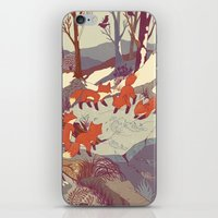 vintage map iPhone & iPod Skins featuring Fisher Fox by Teagan White