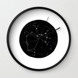 Sagittarius constellation zodiac star sign black and white minimal art Wall Clock