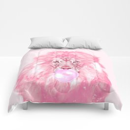 Lion Chewing Bubble Gum in Pink Comforters