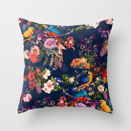 FLORAL AND BIRDS XII Throw Pillow