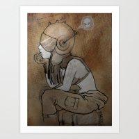 pilot Art Prints featuring Pilot by Captain MaryJane