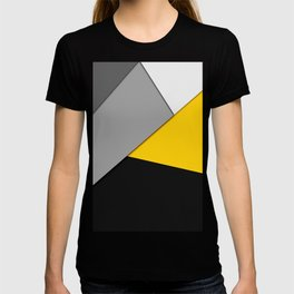 Simple Modern Gray Yellow and Black Geometric T-shirt