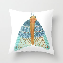 Watercolor Teal Moth/ Day 27/ Butterfly Art Throw Pillow
