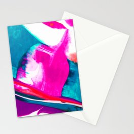 Abstract Acrylic Paint Pattern Texture #3 - Pink, Orange, Blue Green Stationery Cards
