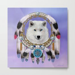 Native American Indian Wolf Spirit Metal Print