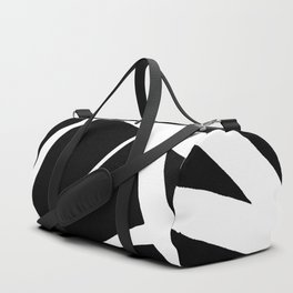 Geometric Line Abstract - Black White Duffle Bag