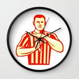 Basketball Referee Technical Foul Retro Wall Clock