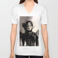 mockingjay V-neck T-shirts featuring MOCKINGJAY by shochat