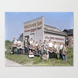 Vancouver Sun Service Department hut and carriers, New Westminster, BC, 1933 Canvas Print