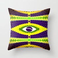 brazil Throw Pillows featuring BRAZIL CUP by Chrisb Marquez