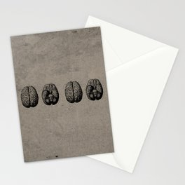 Row o' Brains - Engraving - Vintage - Old Black, White & Brown Stationery Cards