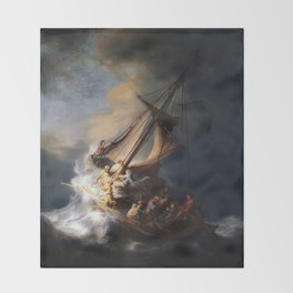 Stolen Painting - The Storm on the Sea of Galilee Throw Blanket