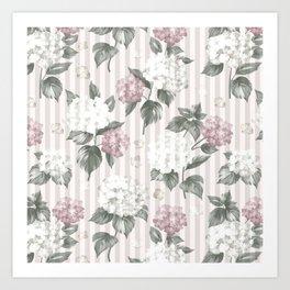 Bohemian pastel pink green floral stripes pattern Art Print