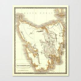 Map Of Tasmania 1830 Canvas Print