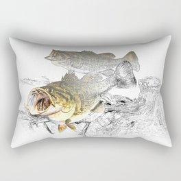 Largemouth Black Bass Fishing Art Rectangular Pillow