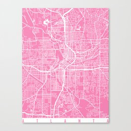 Atlanta map pink Canvas Print