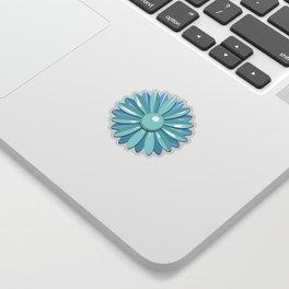 Vintage Flower Enamel Pin (24-Petal in Light Blue & Turquoise) Sticker
